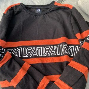 LF The Brand - Black & Orange Striped Crewneck